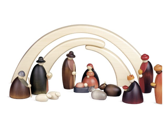 Köhler - 12 Krippenfiguren mit Stall