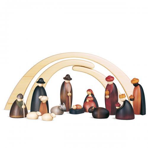 12 Krippenfiguren mit Stall als Set, groß, farbig