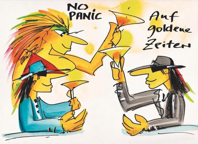 "Udo Lindenberg Grafik ""No Panic - Auf goldene Zeiten"""