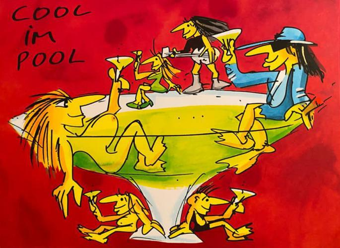 "Udo Lindenberg Grafik ""Cool im Pool"""